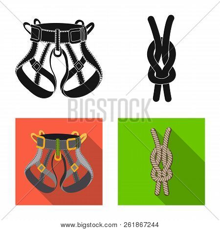 Vector Design Of Mountaineering And Peak Icon. Set Of Mountaineering And Camp Stock Symbol For Web.