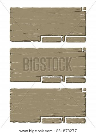 Colorful Set Of Wooden Panels Or Planks That Can Be Used For Realistic Interface Or Signs