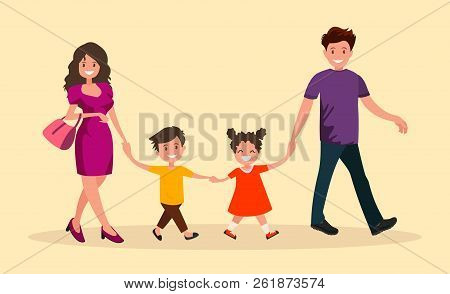 Family Outing. Dad Mom Son And Daughter Go Hand In Hand.