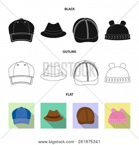 Isolated Object Of Headgear And Cap Icon. Set Of Headgear And Accessory Stock Vector Illustration.