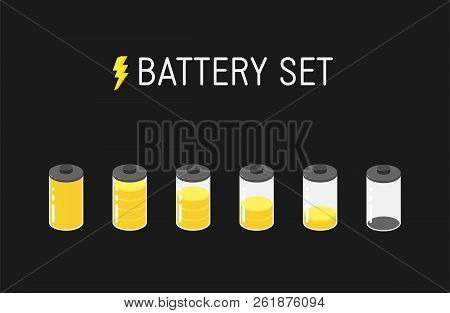 Vector Battery Illustration. Set Of Six Yellow Icons. From Full To Empty.