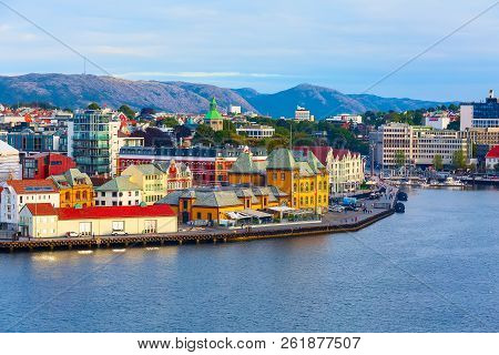 Stavanger, Norway City View With Traditional Wooden Houses And Red Roofs