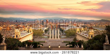Magic Fountain In Barcelona And Statue In Palace In Barcelona City, Spain