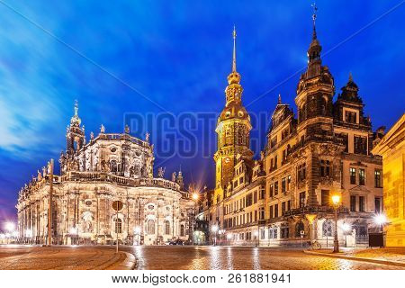 Scenic Summer Night View Of The Old Town Architecture With Cathedral Chirch And City Hall In Dresden