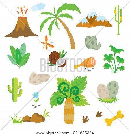 Dinosaur Footprint, Volcano, Palm Tree, Stones, Bone And Other Design Elements. Vector Illustration