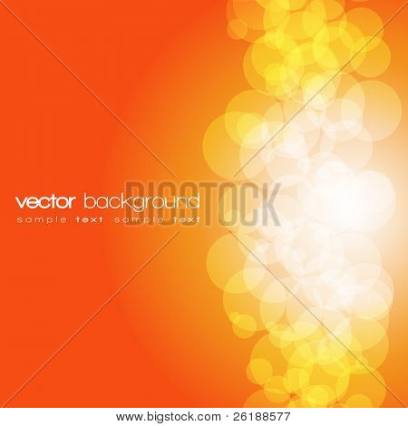 Glittering orange lights background with text - vector