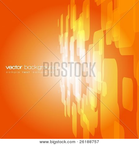 Vector 3D square on the orange background with text