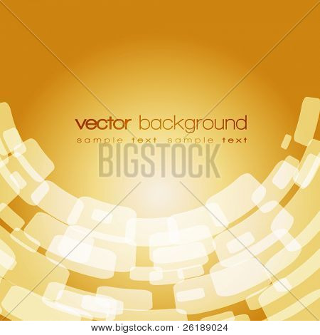 Vector warped square on the gold background with text