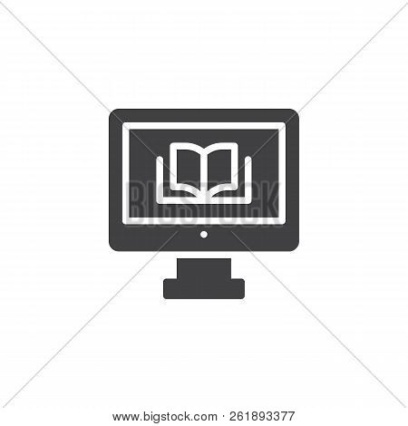 Computer With A Book Vector Icon. Filled Flat Sign For Mobile Concept And Web Design. Online Reading