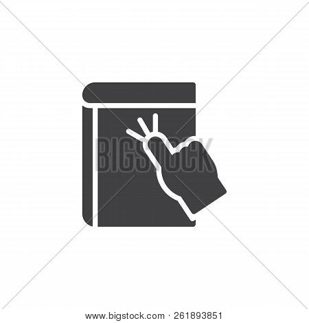 Touch E-book Vector Icon. Filled Flat Sign For Mobile Concept And Web Design. Hand Click Ebook Simpl