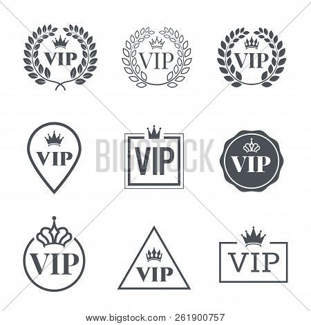 Vip Label Set. Symbol Of Exclusivity. Vip Icons With Crown, Frame And Laurel Wreath. Luxury Premium