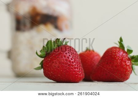 Fresh Strawberry And Jar With Pudding. Food Ingredient. Fresh Berries