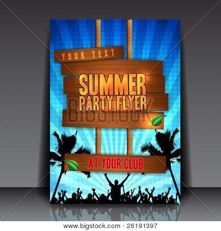 Blue Summer Party Flyer Design - EPS10 Vector Illustration