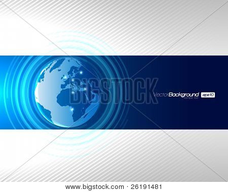 Abstract Technology Circles with Globe - EPS10 Vector Design