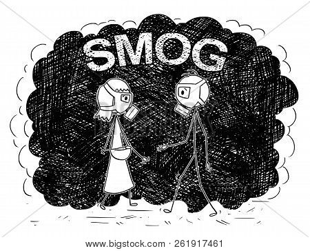 Cartoon Stick Drawing Conceptual Illustration Of Pedestrian Man And Woman With Or Wearing A Gas Mask