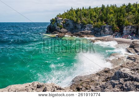 Bruce Peninsula National Park Of Canada.  Located At Georgian Bay, A Large Bay Of Lake Huron, On The