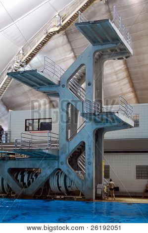 high diving tower at indoor pool; Calgary, Alberta