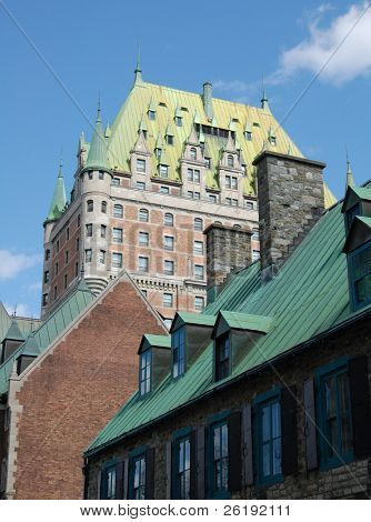 Traditional historical hotel structure Chateau Frontenac; Quebec City
