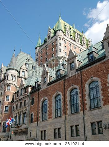 Upward view of historical hotel Chateau Frontenac; Quebec City