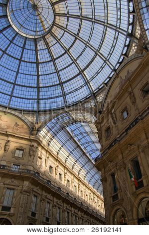 Ceiling of the covered shopping area; downtown Milan, Italy