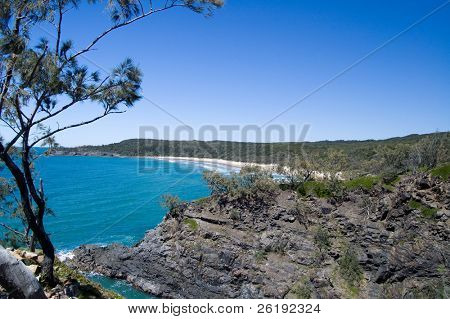 Beautiful, secluded, white sand beach in rocky shoreline, with eucalyptus tree, blue skies and calm tropical ocean; Noosa Heads National Park, Queensland, Australia.