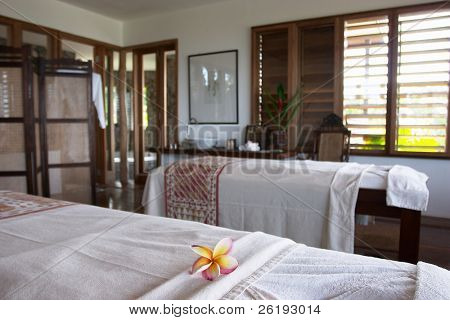 Massage room at the luxurious tropical spa on Fregate Island, Seychelles.