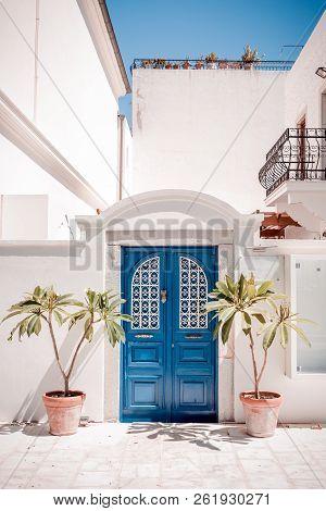 Blue Bodrum Style House Door In Mugla, Turkey