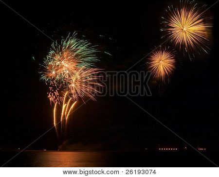 Fireworks at Qatar's Eid celebrations, January 2005.