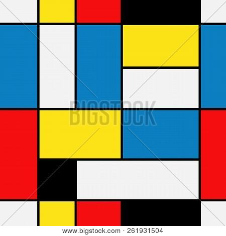 Seamless Abstract Mosaic Pattern. Piet Mondrian Emulation .