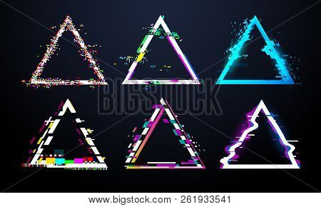 Glitch Triangle Frame. Distorted Tv Screen, Flaw Light Bug Effects On Defect Glitched Triangles. Dis
