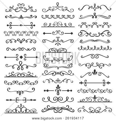 Decorative Swirls Dividers. Old Text Delimiter, Calligraphic Swirl Border Ornaments And Vintage Divi