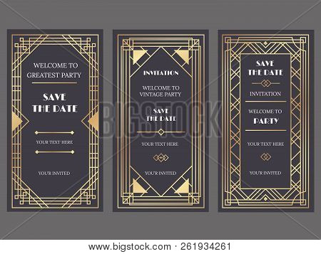 Art Deco Art Banner. Fancy Party Event Invitation, Glamour Golden Retro Vogue Pattern And Gold Frame