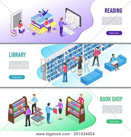 Isometric Read Book Banner. Online Library Books With Bookmark, Reading Ebook And Research Textbook