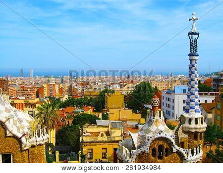 Park Guell In Barcelona, Spain.  Panorama Of City Of Barcelona