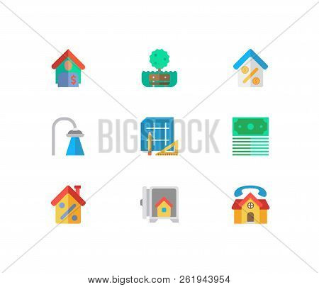 Property Icons Set. Money And Property Icons With Real Estate, Shower And Tenant. Set Of Green For W