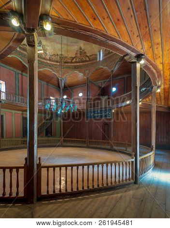 Cairo, Egypt - April 1 2018: Whirling Dervishes Ceremony Hall At The Mevlevi Tekke, A Meeting Hall F
