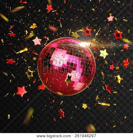 Red Ruby Mirror Discoball With Confetti Particles And Stars Isolated On Black Background. Vector Fes