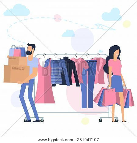 Yong Man And Woman At Shopping. Flat Desin Pink And Blue Vector Concept. Ready For Animation Charact