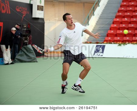 Germany's Philip Kholschreiber during his first round loss to Baghdadis at the Qatar Open 2007, on January 1 in Doha