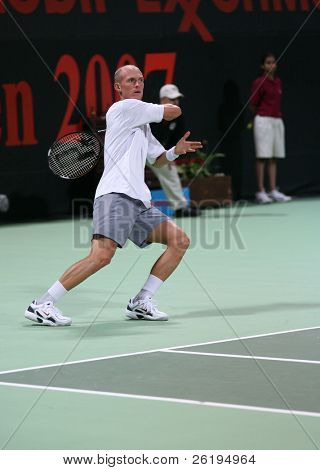 Nikolay Davydenko in the semi-final of the Qatar Open 2007, which he lost to Andy Murray, Jan 5, 2007.