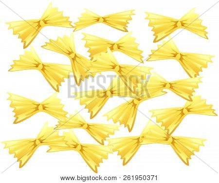 Illustration Of Bow Tie Pasta On A White Background