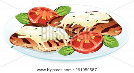 Illustration Of Chicken Margherita, With Chicken Breasts, Tomatoes,basil Leaves, And Mozzarella