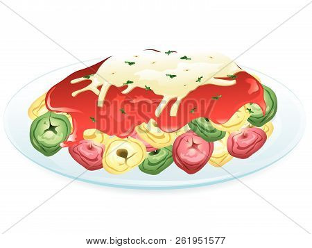 Illustration Of Tricolor Cheese Tortellini With Marinara Sauce And Cheese