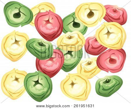 Illustration Of Different Color Tortellini On A White Background