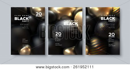Electronic Music Festival. Modern Poster Design. Black Party Flyer. Abstract Background With 3d Sphe