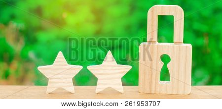 Three Stars And A Lock. The Concept Of High Quality And Protection. Consolidation Of Results And Ach