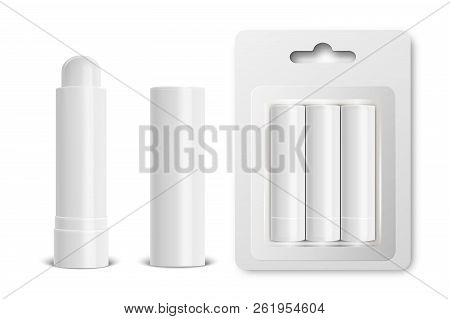 Vector Realistic 3d White Blank Glossy Closed, Opened, In Blister Lip Balm Stick Or Hygienic Lipstic