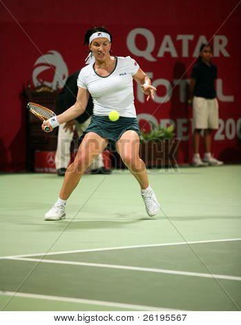 Russian tennis star Svetlana Kuznetsova in action against Daniela Hantuchova in the Qatar Total Open, in Doha, March 2007.