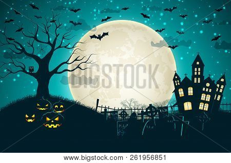 Halloween Night Moon Composition With Glowing Pumpkins Vintage Castle And Bats Flying Over Cemetery