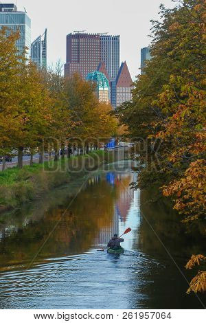 Stunning Andscape Of The Hague With Canoeist On Canal